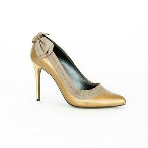 Lanvin Matte Gold Pumps